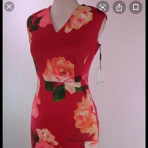 Calvin Klein business dress. Hibiscus print.